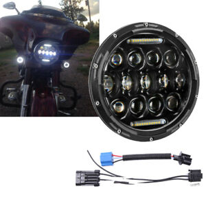 """7"""" LED Projector DRL Halo Headlight For Harley Davidson Touring Street Glide US"""