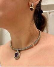David Yurman, Amethyst, Sterling Silver & Gold Necklace, Earring & Bracelet Set