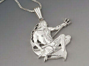 Neptune Pendant, Nautical Jewelry, Coin Jewelry, Necklace Mens, ( # 22S )