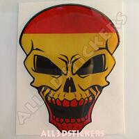 Pegatina Calavera Bandera España Adhesivo Relieve Coche Moto Skull Tablet 3D