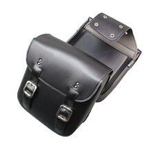 Black PU Leather Cruiser Style Motorcycle Saddlebags Motorbike Panniers Luggage