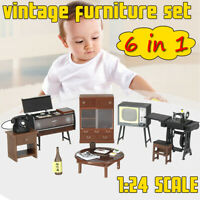 Kids Xmas Gift 1:24 DIY Doll House Miniature Vintage Furniture Set Home