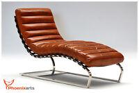 Echtleder Vintage Leder Liege Braun Relaxliege Design Recamiere Chaiselongue 536