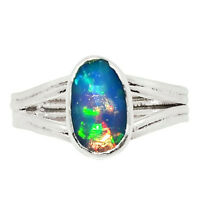Faceted Australian Opal 925 Sterling Silver Ring Jewelry s.7.5 26368R