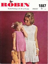 VINTAGE 60'S CROCHET PATTERN WOMAN'S AND GIRL'S MATCHING LACY DRESSES