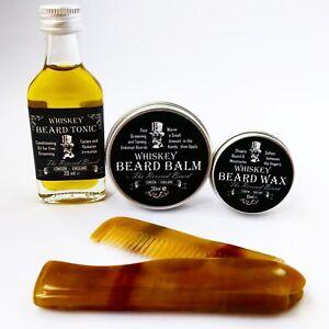 Whiskey Beard Oil, Beard Balm, Beard Wax and Ox Horn comb Kit by Revered Beard.