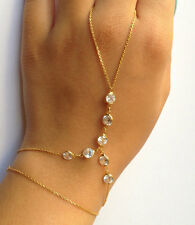 Double Layer Gold Chain Crystal Charm Bracelet Finger Ring Slave Hand Harness
