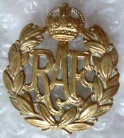 VINTAGE Royal Air Force Cap Badge RAF Badge KC BRASS 2 LUGS Super Antique