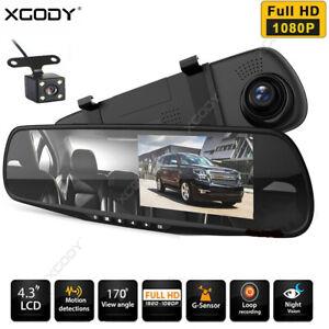 "4.3"" 1080P HD Car DVR Dual Lens Dash Cam Front Rear Mirror Camera Video Recorder"
