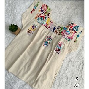 """Mexican """"Pensamientos"""" Embroidered Top X-Large"""