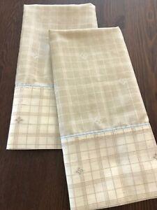 Vintage Burlington Pair King Pillowcases ~ Tan Plaid Print