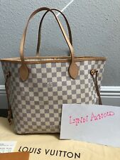 Louis Vuitton Damier Azure Neverfull MM Tote Handbag Purse EUC