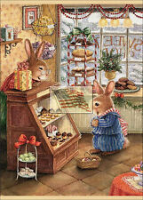 REPRINT PICTURE of older print XMAS WINTER 2 BUNNIES AT THE CANDY SHOP 5x7