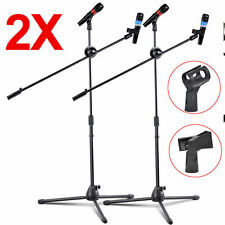 2 Pack Dual Microphone Stand Boom Arm Holder & Mic Clip Stage Studio Tripod WP