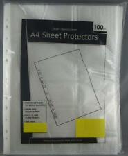 100 x A4 POLYPROPYLENE Sheet Protectors NON STICK 3,4,5 RING HEAVY DUTY EDGES
