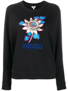 KENZO PASSION FLOWER EMBROIDERED SWEATSHIRT BLACK *NEW*