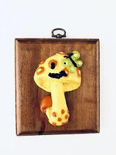 Vintage 1970's Ceramic Yellow Mushroom Wall Hanging Art / Wood GiftCraft Mfg.Co