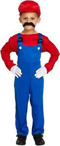 Boys Mario Brothers Fancy Dress Child Kids Costume Outfit World Book Day 4-12 Yr