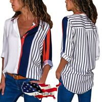 Womens V Neck Button up Color Block Stripes Long Sleeve Blouse Casual Tops LUS