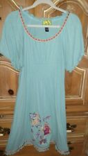 RARE TRACY PORTER Turquoise Embroidered Knit Dress Ribbon Trim 12/14 Runs Small