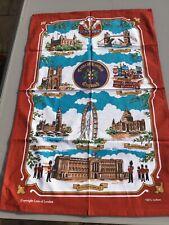RETRO COLLECTABLE TEA TOWEL 2000's LONDON CREST BUCKINGHAM PALACE EYE TOWER