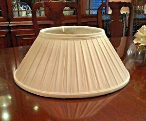 "Baldwin Brass Floor Lamp Shade Pleated Ivory Silk 18.25"" x 6.75"""