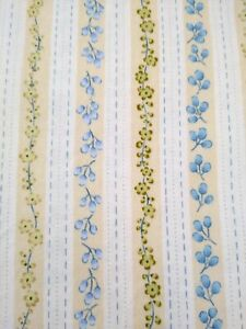 100% cotton quilt fabric HOBBY LOBBY floral stripe white blue tan 3yd material