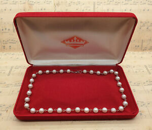Vintage 925 Sterling Silver and Large Freshwater Jersey Pearl Necklace with Box