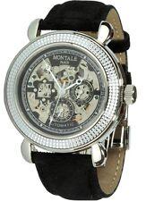 Montale Paris Skelettuhr Automatikwerk schwarzes Uhrband Faltschliesse Herrenuhr