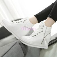 Lady's High Top Trainers Boots Lace Up Hidden Wedge Heel Sneakers Shoes Autumn