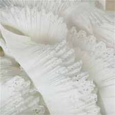 1yd White Hollow Chiffon Lace Trims Double Layer Ribbon DIY Sewing