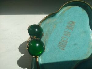 ANTIQUE  VICTORIAN  BRASS WITH GREEN GLASS STONE  CUFF LINKS