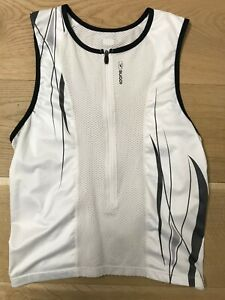 SUGOI Triathlon Sleeveless Cycling Jersey Mens Large White Tri Tank Top