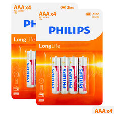 8 x Philips LongLife AAA batteries Zinc Chloride 1.5V R03 LR03 MX2400 Pack of 4