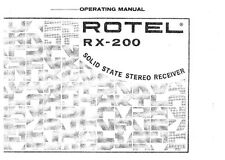 Rotel RX-200 Receiver Owners Instruction Manual