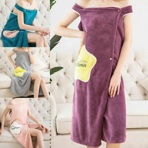 Women Quick Dry Wearable Microfiber Plush Bathrobes Bath Towel Spa Wrap Dress