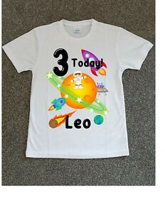 Childrens Personalised Birthday T-Shirt Space  Fun Boys Gift