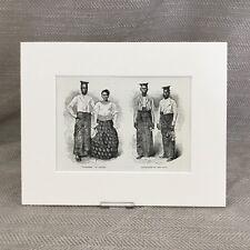 1890 Antique Print CEYLON Burgher Sinhalese Traditional Costume
