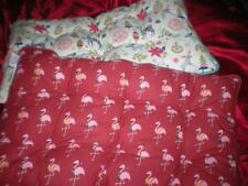 Two Dog Cat Pet Beds Christmas and Santa Hats Pink Flamingo Scarfs Rnaments Deer