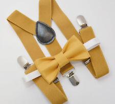 Kids Boys Mens Mustard Suspenders & Mustard Yellow Bow tie Infant - ADULT SET