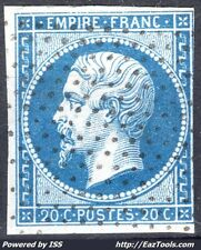 FRANCE EMPIRE 20c BLEU N°14A ROULETTE DE PETITS POINTS DISPOSÉS EN CARRÉS