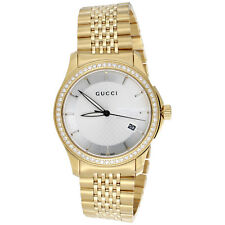 Gucci Ya126402 Diamond Watch White Dial G Timeless 38mm Gold PVD Steel 1.75 CT.