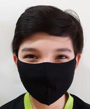 3 pack - Medium Black Face Mask - Adult Teens - Unisex Cotton Washable w/ strap