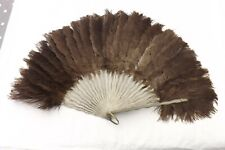 ANTIQUE HAND HELD FRENCH FAN FEATHER AND WOOD CONSTRUCTION (FS23)