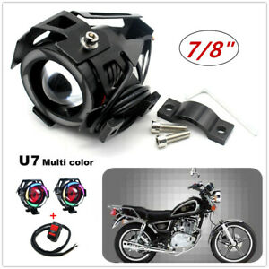 """2* Multi Color Halo LED Motorcycle Headlight Spot Lamp Flash Projector7/8"""" Lens"""