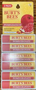 Lot of 6 - Burts Bees Moisturizing Lip Balm Pomegranate. 6 total. New (3)2 packs