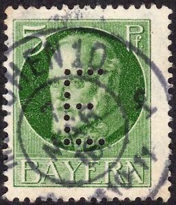 1 timbre oblitéré vert 5 Pfg  et PERFORE lettre E 1914 -1920 King Ludwig III