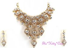 Indian BellyDance Hollywood Chandalier 'V' 3pc Gold Crystal Bridal Jewellery Set