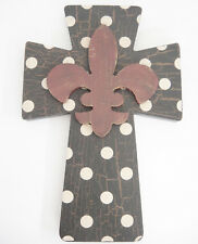 Wooden Cross Black with White Dots and Rust Fleur de Lis Wall Hanging 8x12