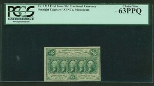 1862-63  50 CENT FRACTIONAL CURRENCY, FR-1312, CERTIFIED PCGS CHOICE NEW 63-PPQ